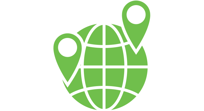 a green icon of a globe with two GPS markers on it