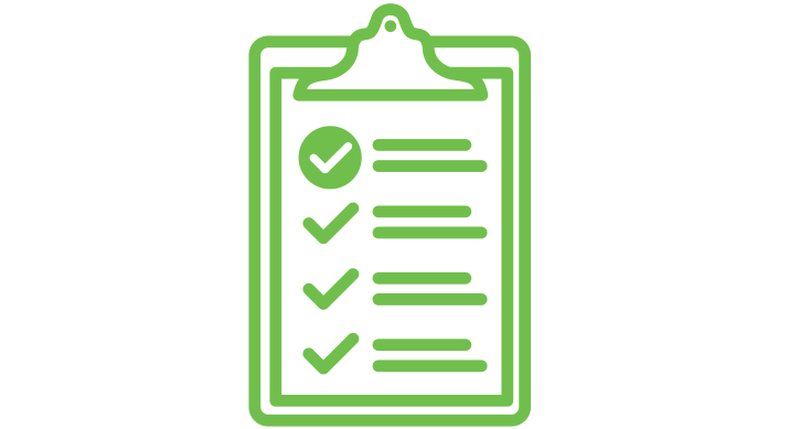a green icon of a clipboard with checkmarks on it
