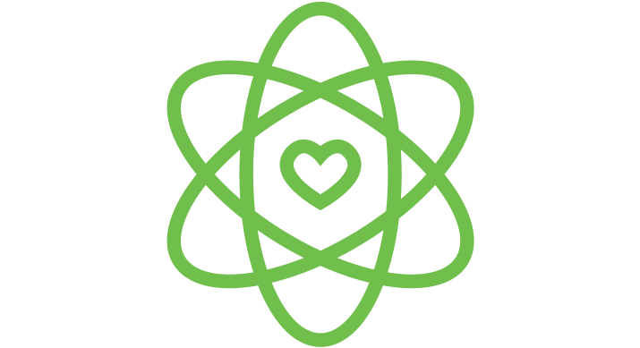 a green icon of an atom symbol with a heart in the middle