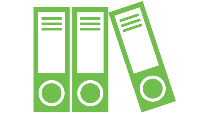 a green icon of some binders standing upright with one leaning towards the others