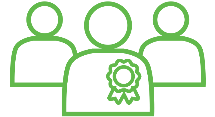 a green icon of three people standing together