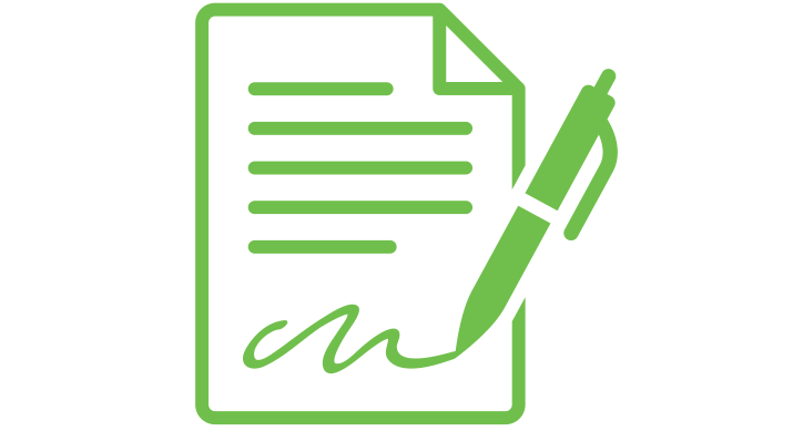 a green icon of a document being signed by a pen