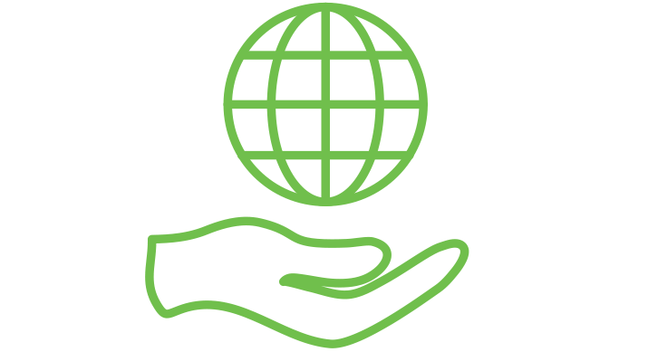 a green icon of a hand with globe floating above it