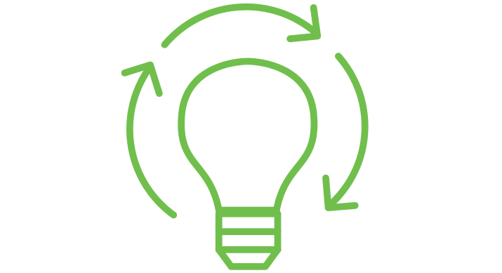 a green icon of a lightbulb with circular arrows around it