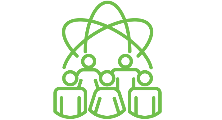 a green icon of an atom symbol with 3 people standing in front of it