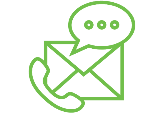 a green icon with a phone receiver, chat bubble, and an envelop