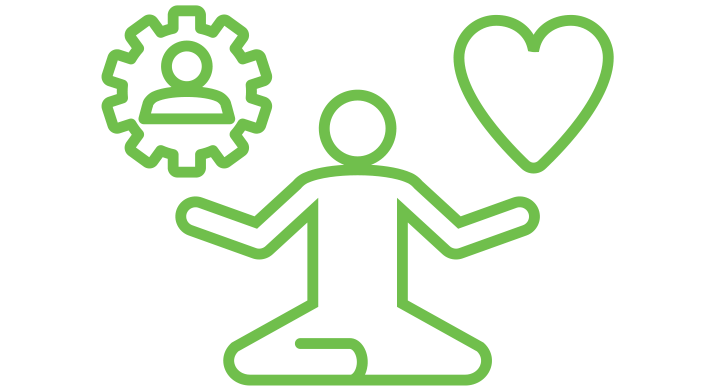 a green icon of a person meditating