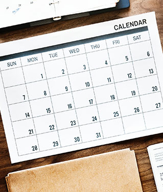 Image of Calendar to represent Annual Report Services which are designed to help clients manage annual report due dates.