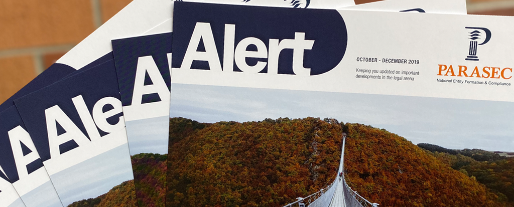 Image of copies of the Parasec Newsletter, The Alert.